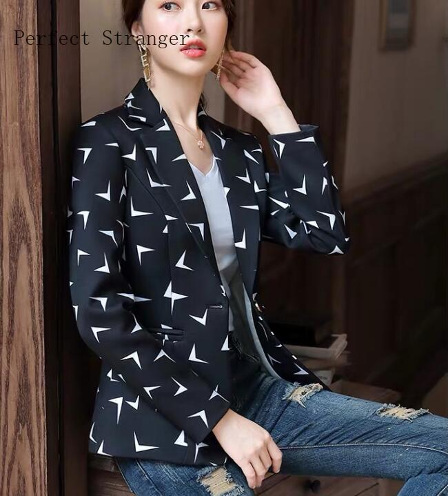 Plus Size M-3XL 2020 Spring New Arrival Fashion Turn-down Collar Printed Long Sleeve Women Suit Coat