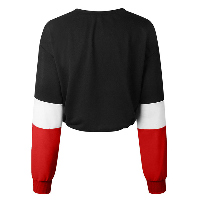 Jaycosin Fashion Womens Long Sleeve Splcing Color Sweatshirt Casual Cool Chic New Look Comfortable Pullover Tops Blouse 2