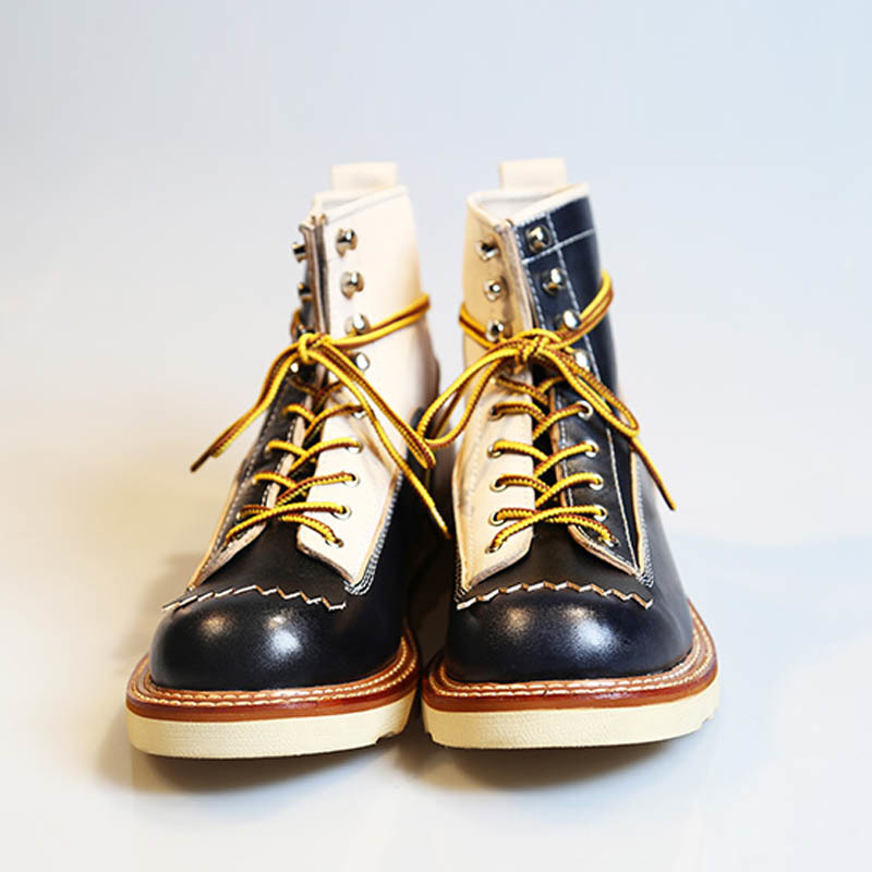 New Japanese Retro Patchwork Genuine Leather  Boots Men Round Toe Lace Up Motorcycle Ankle Boots Casual Men Leather Shoes