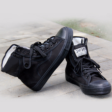 New High top Canvas Shoes Espadrilles Zapatos Chaussure Homme Men all black Casual sneaker Flat canvas Shoes G01-100