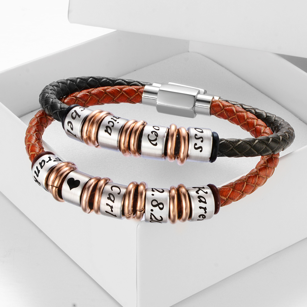 Genuine Leather Engraved Name Gift Bracelets With Magnetic Clasp Personalized Custom Jewelry For Man and Women