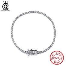 ORSA Jewelry – bracelet de Tennis en argent Sterling 925 authentique, pavé clair, Zircon cubique, bijoux de fête pour filles, chaîne SB61