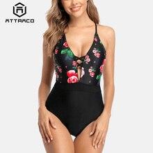 цена на Attraco Monokini Swimsuit Women Swimwear One-piece Floral Backless V-Neck Print Bathing Suit Deep Plunge Beachwear New