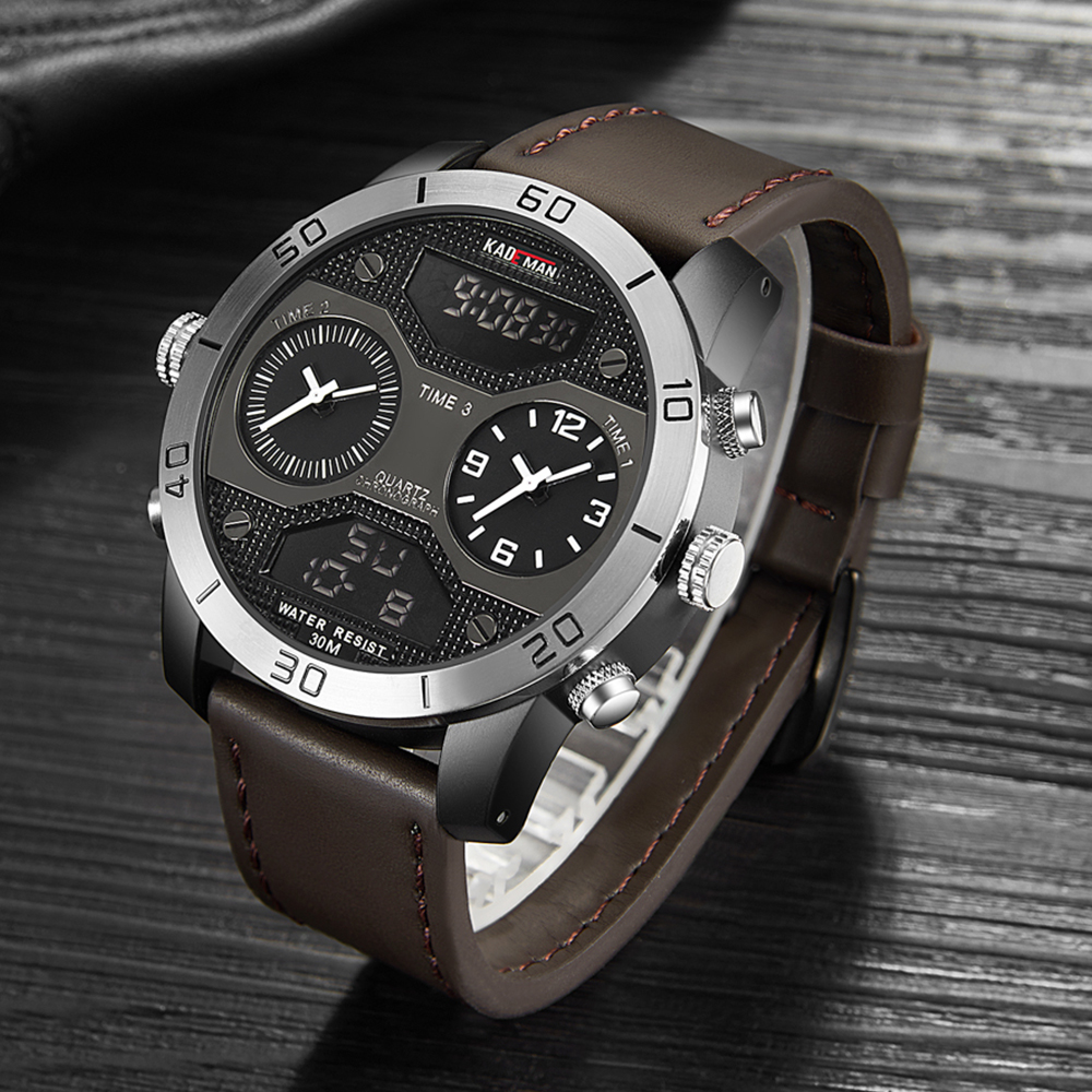 KADEMAN Luxury Dual Display Men Watch Top Brand Digital Analog Waterproof Wristwatch Big Dial Male Military Sports Clock Relogio