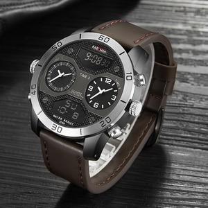 Image 1 - KADEMAN montre bracelet de luxe pour hommes à double affichage, numérique analogique, étanche, grand cadran, horloge de sport militaire
