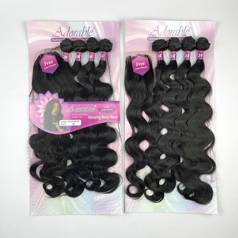 Adorble Premium Synthetic Fiber Amazing Body Wave Package Hair Bundles whole Sale  bundles cheap hair