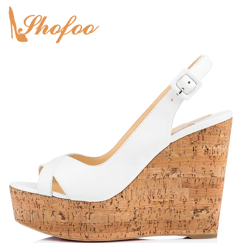Platform Sandals Wedges Heels Cork Luxury Ankle-Wrap Casual-Shoes Female Large-Size Woman