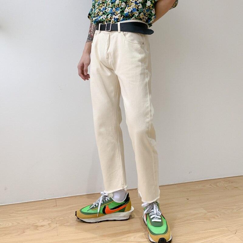 Men Broken Hem Casual Straight Ankle Length Denim Pants Male Women Japan Korea Streetwear Vintage Fashion Unisex Jeans Pant