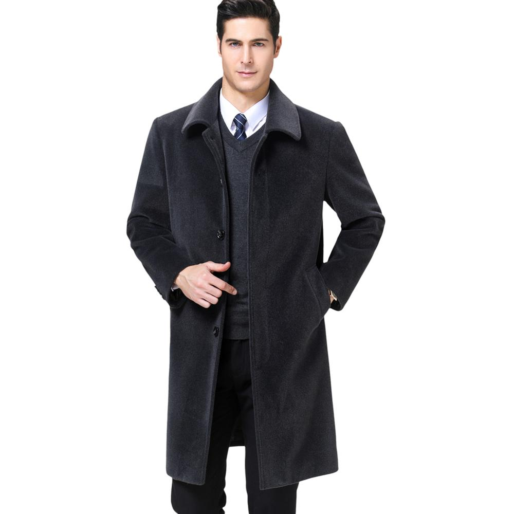 KUYOMENS Men's Wool Blends Coats Autumn Winter New Solid Color Men Trench Coat Wool Coats Luxurious Wool Blends Coat Male