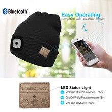 Беспроводная Bluetooth Шапка-бини для мужчин и женщин светильник кой, музыкальная шапка с наушниками Bluetooth, зимняя шапка с перезаряжаемым светод...