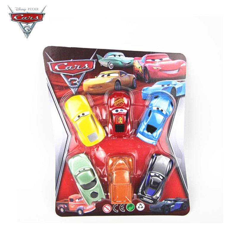 Original Box 6Pcs/set Cars Disney Pixar Cars 3 Lightning McQueen Mater Somkey  1:55 Diecast Car Model For Kids Christmas Gift