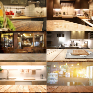 Image 1 - Nitree Photo Studio Props Backdrop Wooden Board Blurred Pixel Kitchen Vinyl Background For Gourmet Photography