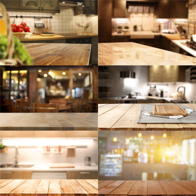Nitree Photo Studio Props Backdrop Wooden Board Blurred Pixel Kitchen Vinyl Background For Gourmet Photography