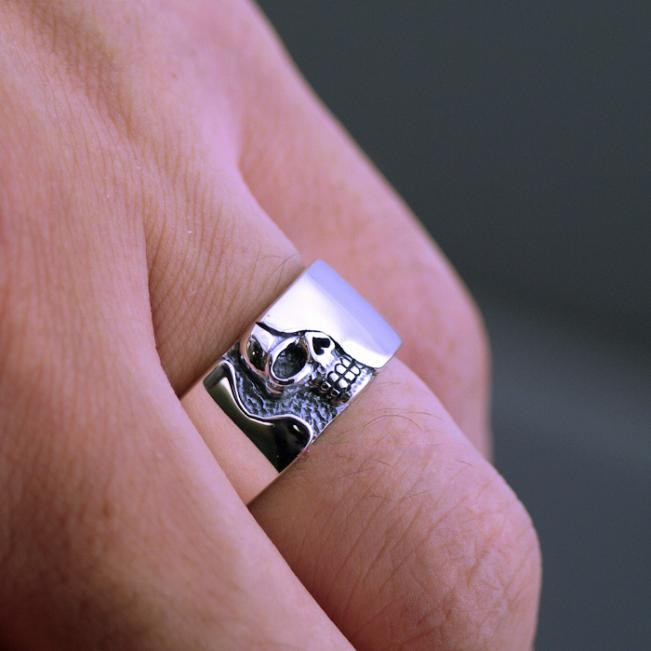 Breve placa esqueleto anillo calavera hombres thai anillo de plata - 4