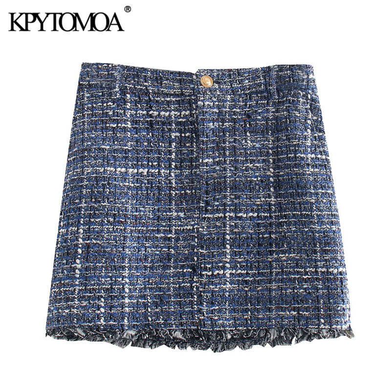 KPYTOMOA Women 2020 Chic Fashion Frayed Hem Tweed Mini Skirt Vintage High Waist Zipper Fly Female Skirts Casual Faldas Mujer