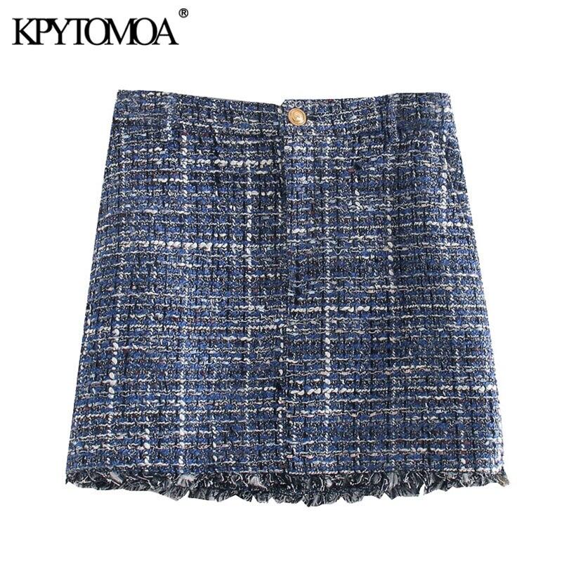 KPYTOMOA Women 2020 Chic Fashion Frayed Hem Tweed Mini Skirt Vintage High Waist Zipper Fly Female Skirts Casual Faldas Mujer