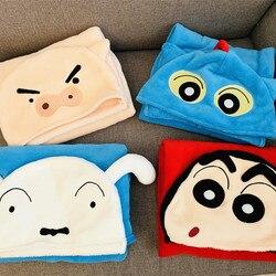 Японская Высококачественная Подушка для сна Crayon Shinchan плюшевое одеяло с шапкой для ванной, путешествий, домашняя Подушка, одеяло для сна, суп...
