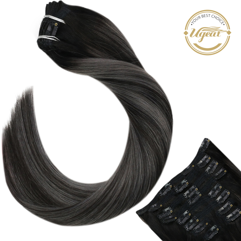 Ugeat Clip in Hair Extensions Full Head 1B/Silver/1B 14-22
