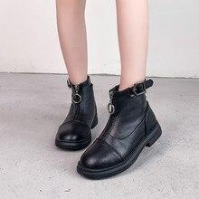 Children Short Boots Autumn Buckle Fashion Elegant Boys Girls Ankle Boot Size 27-37 Round Toe Cotton Black School Kids Shoe