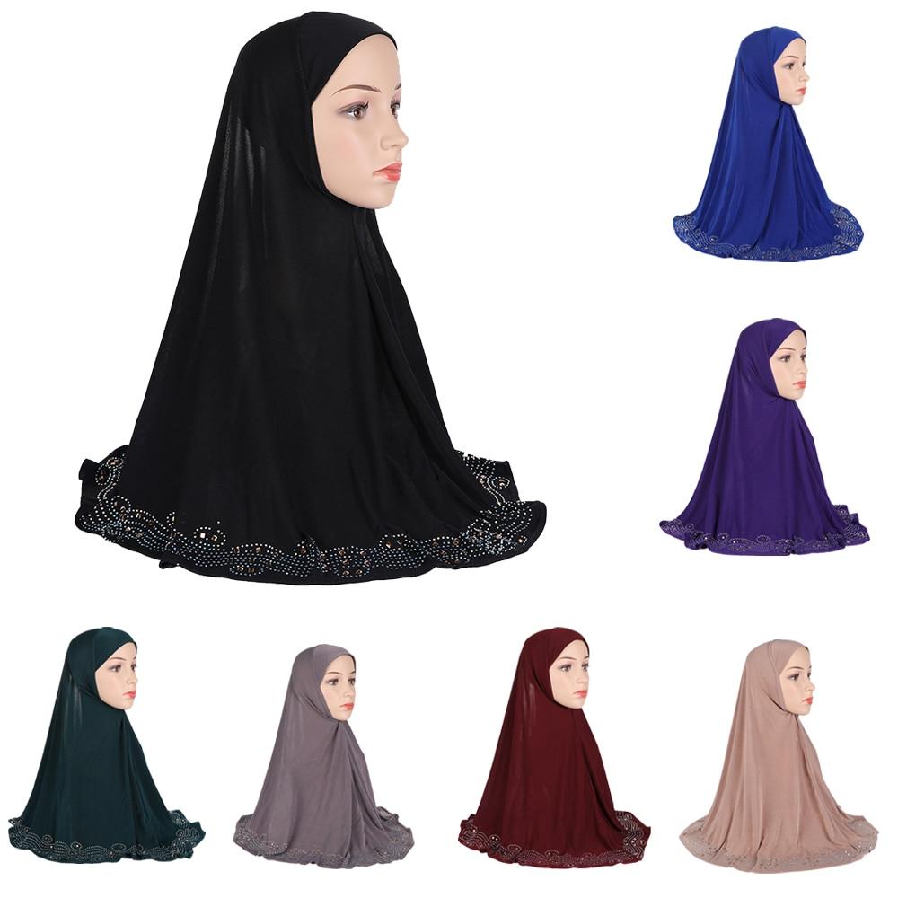 One Piece Amira Hijab Islamic Headscarf Muslim Women Beads Head Wrap Prayer Hat