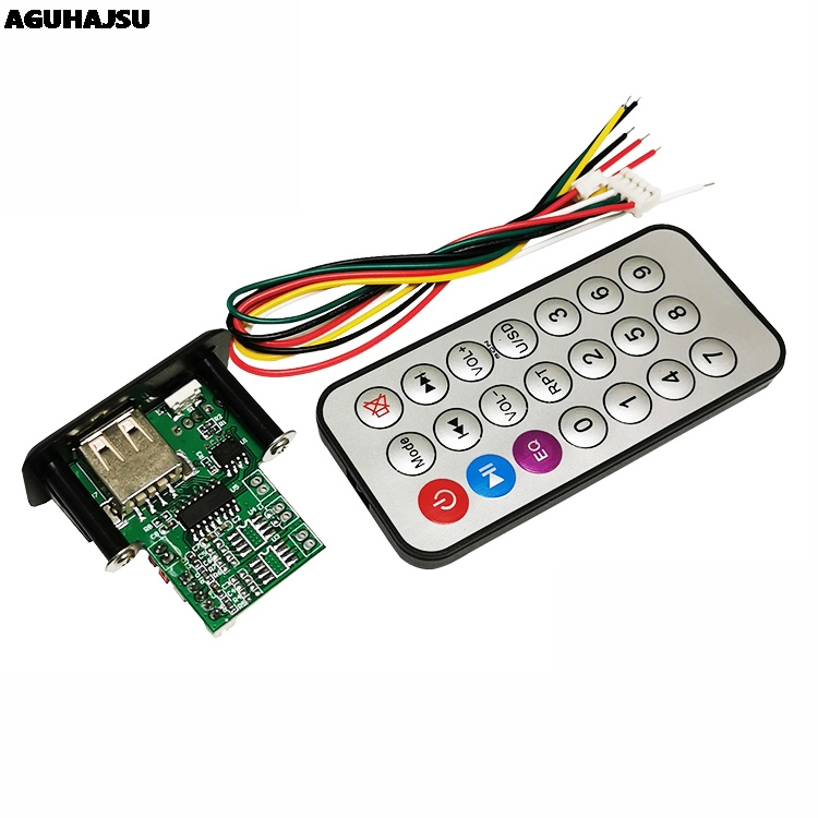 Mini <font><b>5V</b></font> MP3 Decoder Board 3W*2 Decoding <font><b>Module</b></font> MP3 WAV U disk TF Card USB <font><b>Amplifier</b></font> Speaker Audio Board With Remote Control Wire image