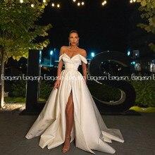 Eeqasn a linha vestido de baile 2021 primavera cetim fora do ombro com decote em v alta fenda longo vestido de noite formal elegante vestidos de gala