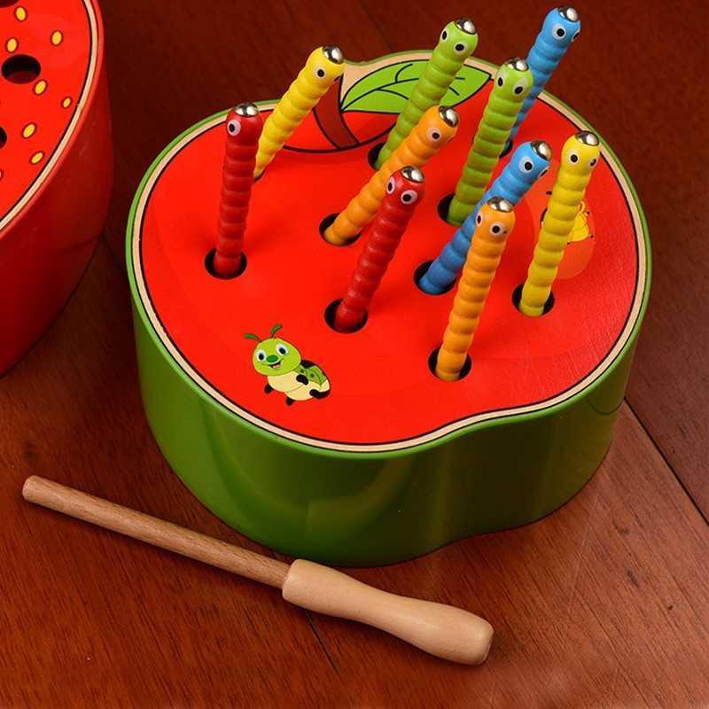 CA червячки в яблоке Детские деревянные игрушки 3D головоломка для раннего детства развивающие игрушки Лови червя Игра цвет Когнитивная Магн...