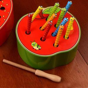 CA Baby Wooden Toys 3D Puzzle Early Childhood Educational Toys Catch Worm Game Color Cognitive Magnetic Strawberry Apple(China)