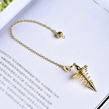 1PC antique copper gold and silver color wind chime pendulum metal spiral cone pyramid pendulum home decoration aura jewelry