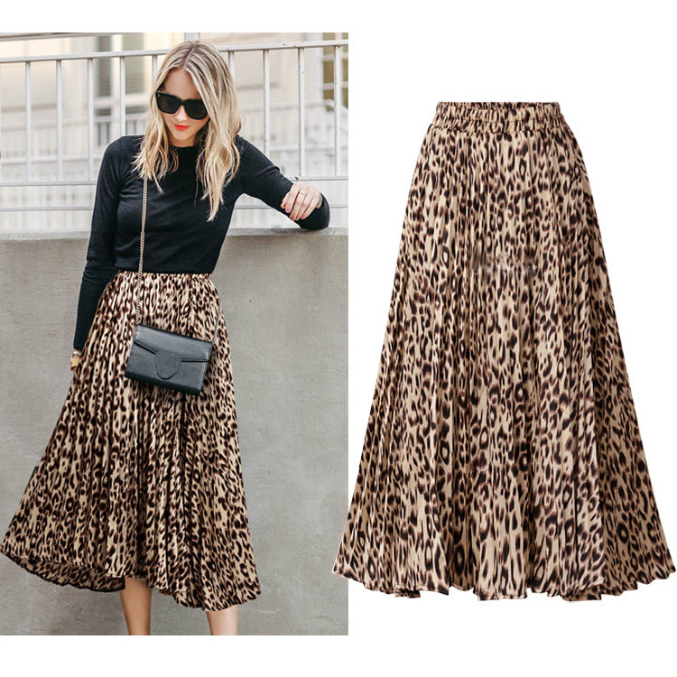 Plus Size Leopard Print Skirts Womens New Spring Autumn A Line Pleated Long Skirt Casual High Waist Maxi Skirts Woman Streetwear