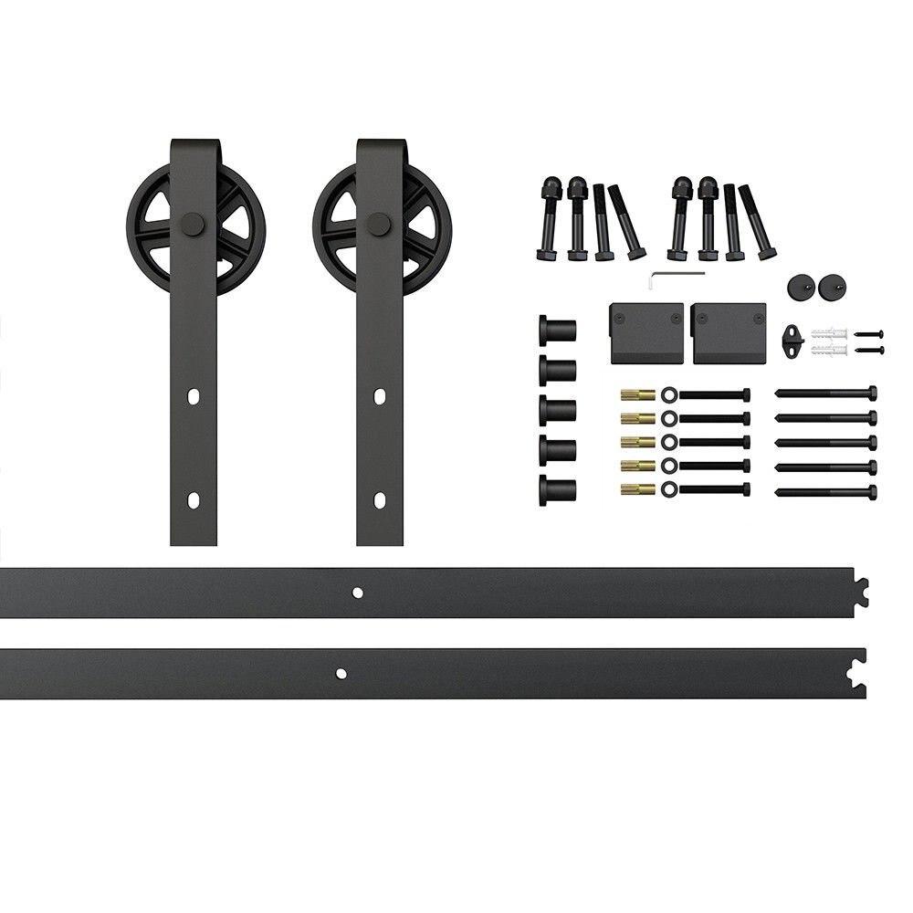 6.6ft Black Hanger Roller Spoke Wheel Sliding Barn Door Hardware Track Set 2x3.3ft Rails