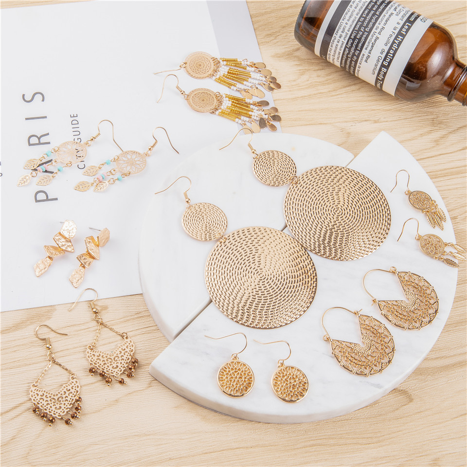 Gold color earrings bohemian statement luxury big round earring crystal acrylic handmade women geometric fringe fashion jewelry (5)