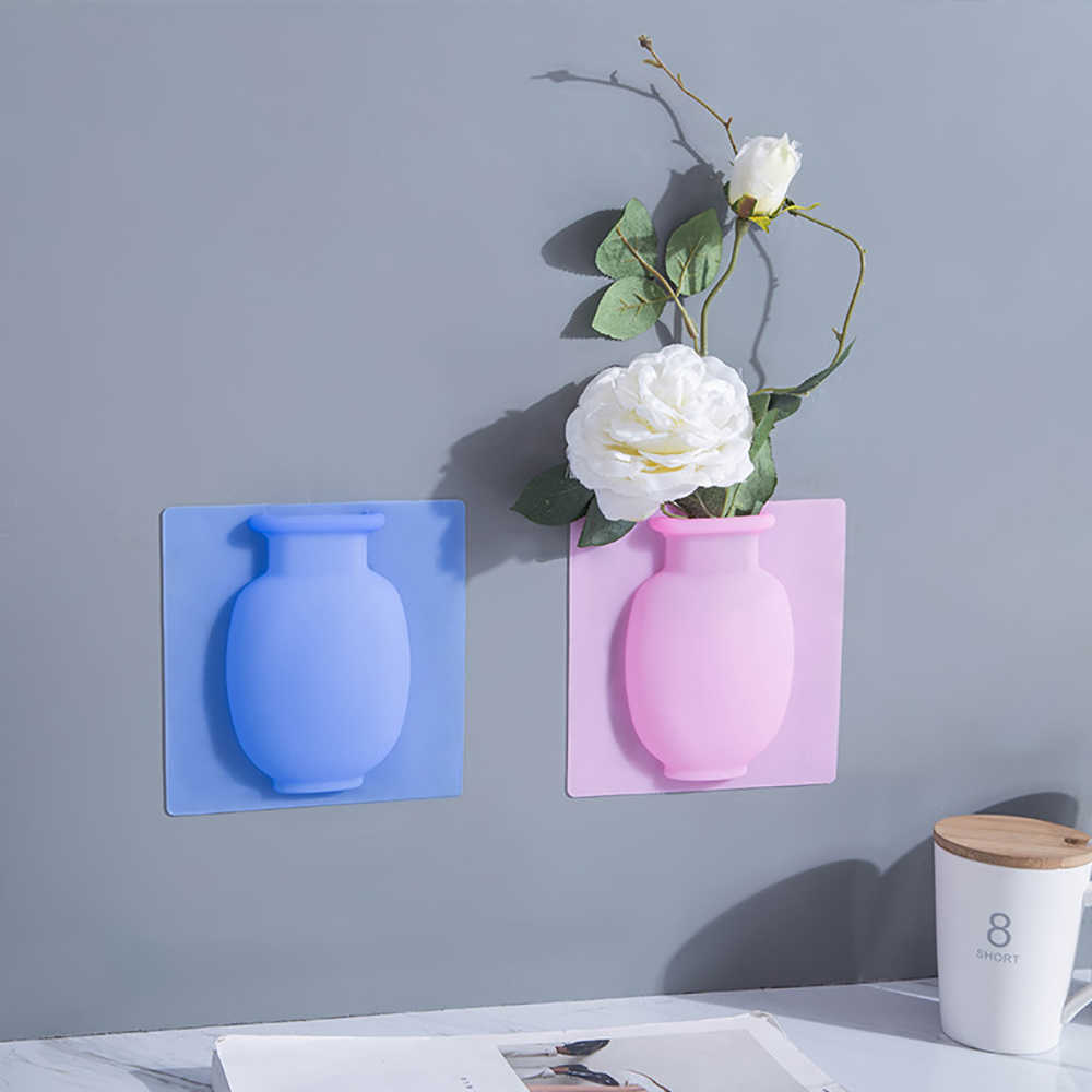 Silicone Sticky Vase Sticker Reusable Wall Mounted Flower Pots ...