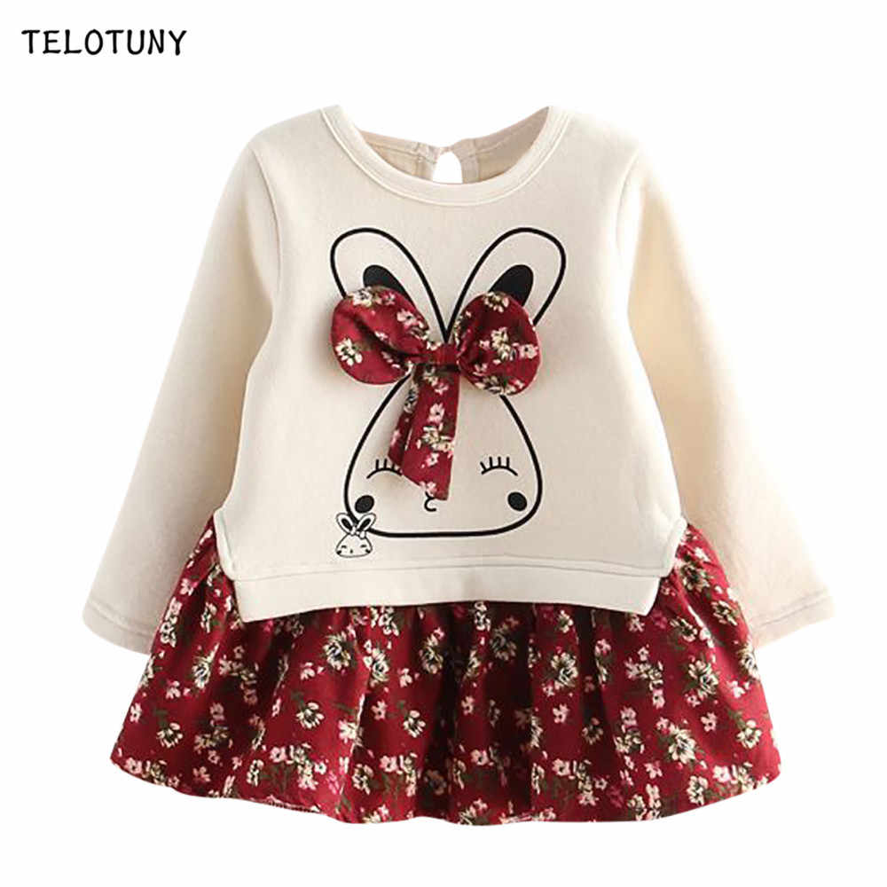 TELOTUNY Autumn Winter Cartoon Rabbit Bunny Floral Print Princess Party Fashion Dress Infant Toddler Baby Kids Girls Dress L0731