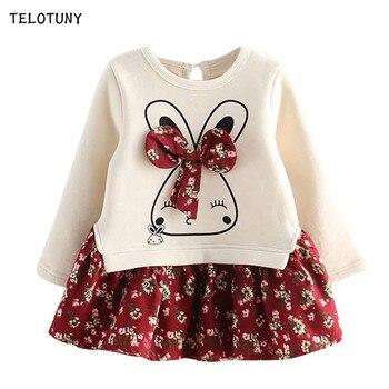 TELOTUNY/сезон осень-зима; Модные Вечерние Платья принцессы с рисунком кролика и Банни; платье для маленьких девочек; L0731