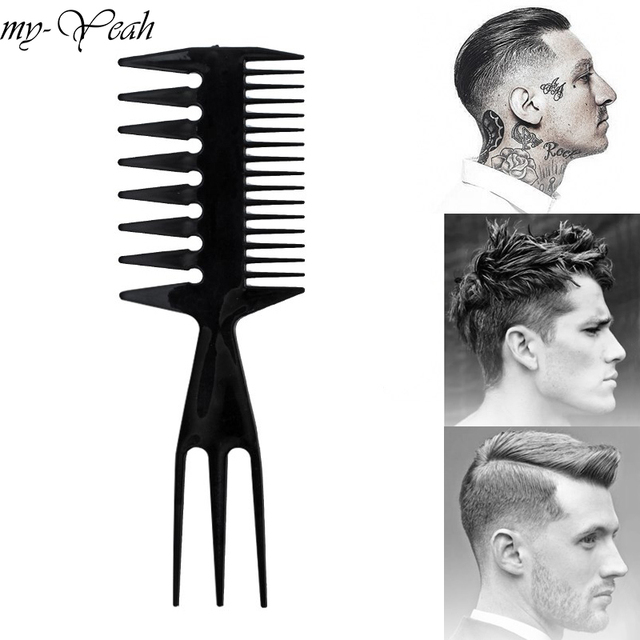 Professional Double Side Tooth Combs Fish Bone Shape Hair Brush Barber Hair Dyeing Cutting Coloring Brush Man Hairstyling Tool