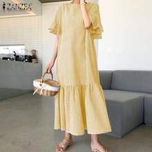 Summer Dress Short-Sleeve Plaid Ruffle Plus-Size Women's Robe Maxi Vestidos Fashion Casual