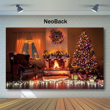 Neoback Christmas Tree Backdrop Gifts Toy Indoor Children Photo Background Fireplace Neon Christmas Photography Backdrops capisco indoor fireplace merry christmas photo background printed xmas tree toy bear gifts chair new year photography backdrops