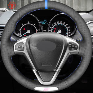 Image 2 - LQTENLEO Black Genuine Leather DIY Hand stitched Car Steering Wheel Cover For Ford Fiesta ST 2013 2014 2015 2016 2017 2018