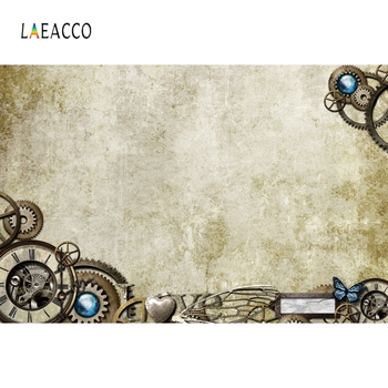 цена на Laeacco Old Wall Steampunk Gears Photophone Photography Backgrounds Vintage Grunge Portrait Photo Backdrops For Photo Studio