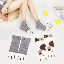 New Harajuku Animal Short Socks Autumn Winter Women Cats Paw Socks Girls 3D Funny Casual Ankle Sock Cute Happy Sox