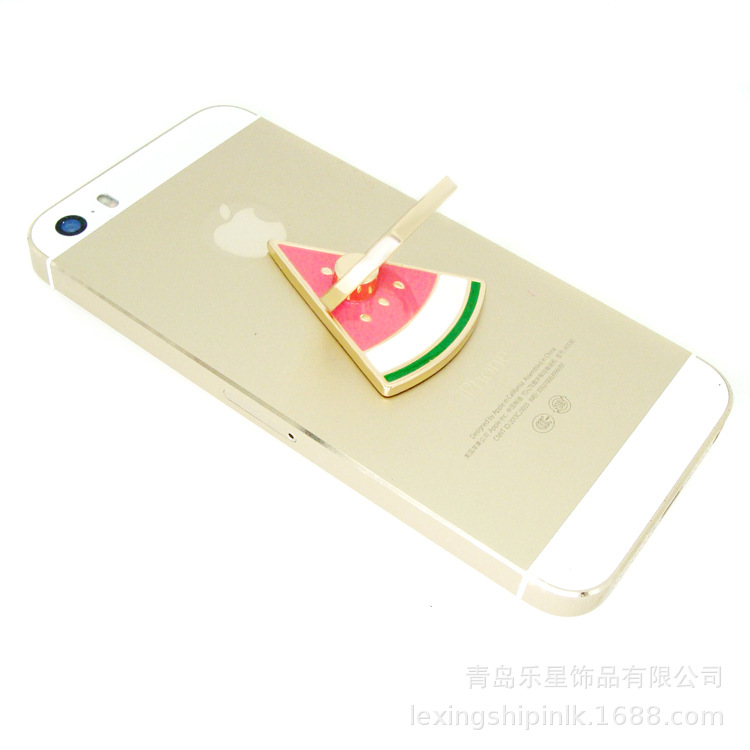 Alloy Enamel Fashion Fresh Color Watermelon Mobile Phone Bracket Lazy Adhesive Rings Accessories Now H