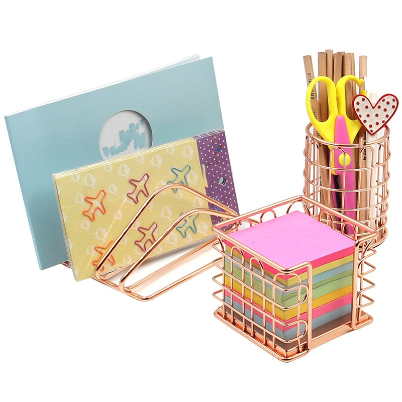 Desk Supplies Organizer Kit- Letter Sorter, Pen Holder And Sticky Note Holder