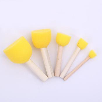 5 sztuk DIY okrągły kształt gąbki pędzle malarskie drewniany uchwyt Graffiti pędzle malarskie dla dzieci szkolne materiały malarskie tanie i dobre opinie Wood Sponge