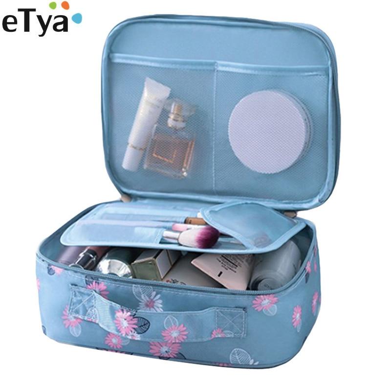 ETya 2019 New Fashion Women Cosmetic Bag Zipper Makeup Bag Case Travel Flower Make Up Toiletry Organizer Storage Wash Bag Pouch