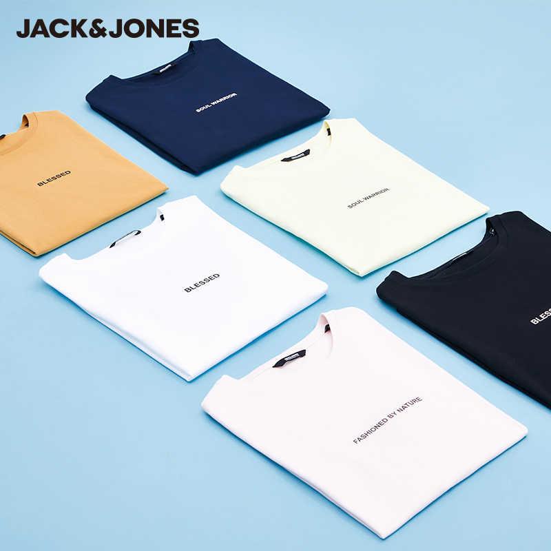 Mlmr básico 100% algodão camiseta carta impressa t camisa jackjones nova marca masculina jack jones 220201586