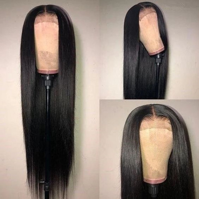 $ US $31.27 Silky Straight Natural Black Wig Long Lace Front Synthetic Wigs for Women Black Color Heat Resistant Hair 18-26 Inches