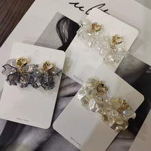 Pendientes de gota de pétalos de flor de concha acrílica coreana para mujer, corazón hueco de Metal elegante, accesorios de joyería para vacaciones, nuevos