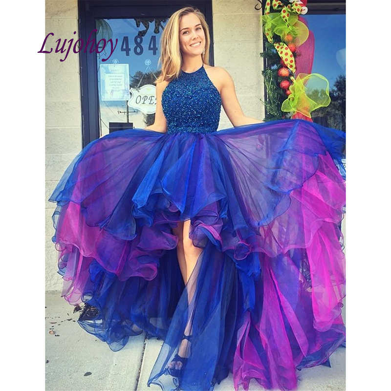 plus size long high low prom dresses