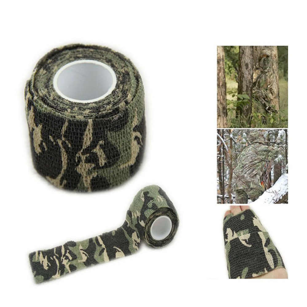 5PCS Military Camo Stretch Bandage Camping Hunting Camouflage Stealth Tape Wrap